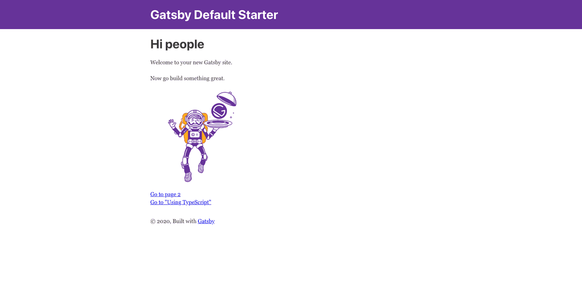 A screenshot of Gatsby default starter